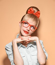 Beauty Fashion Woman, Stylish Glasses.Hipster Girl Stock Images - 65403434