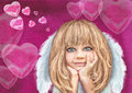 Smiling Cupid Girl. Angel. Love.Holiday Background Stock Photos - 65406433