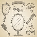 Hand Drawn Vintage Beauty And Retro Makeup Items Stock Photo - 65407740