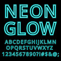 Neon Glow Alphabet Custom Handcrafted Font. Royalty Free Stock Images - 65411739