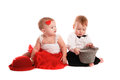 Girl Red Skirt Hat And  Boy Hat, Love, Valentine S Day Stock Photos - 65419273