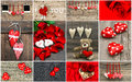 Valentines Day Card Concept. Red Hearts, Rose Flowers, Decoratio Royalty Free Stock Photo - 65425855