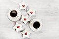 Two Cups Of Coffee And Heart Shaped Sweets Royalty Free Stock Photo - 65438735