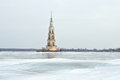 The Bell Tower Of St. Nicholas In Winter In Kaliazin In Cloudy Weather Stock Photos - 65444083