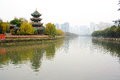 Foggy Day In Chinese Park. Royalty Free Stock Photo - 65445635