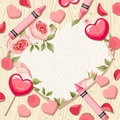 Valentine Heart Card With Candies And Rose Petals. Vector Eps-10. Royalty Free Stock Image - 65452246