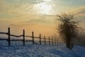 Sunrise In Winter With Tree, Fence And Fog Royalty Free Stock Photography - 65461777
