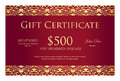 Vintage Red Gift Certificate With Golden Ornament Royalty Free Stock Images - 65464099