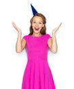 Happy Young Woman Or Teen Girl In Party Cap Royalty Free Stock Images - 65469079
