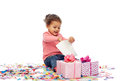 Happy Little Baby Girl With Birthday Presents Royalty Free Stock Photos - 65469408