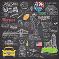 New York City Doodles Elements Collection. Hand Drawn Set With, Taxi, Coffee, Hotdog, Burger, Statue Of Liberty, Broadway, Music, Stock Images - 65471514