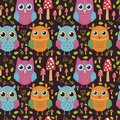 Childish Seamless Pattern With Cute Owls Stock Photo - 65485470