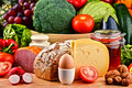 Organic Food Including Vegetables Fruit Bread Dairy And Meat Stock Photography - 65487282