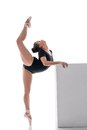 Pretty Ballerina Performs Vertical Split In Dance Royalty Free Stock Photography - 65488157