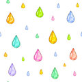 Iridescent Rain. Set Of Color Drops For Design  On A White Background. Watercolor Drawing. Handwork. Seamless Pattern Royalty Free Stock Images - 65498589