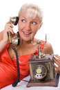 Beautiful Woman Using Vintage Phone. 3 Stock Images - 6550254