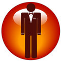 Man In Tuxedo Icon On Button Stock Image - 6550991