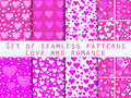 Set Of Seamless Patterns With Hearts. Valentine S Day. Love Patt Stock Images - 65507334