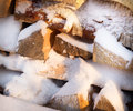 Firewood, Wood With Snow In Winter Royalty Free Stock Photo - 65511435