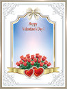 Beautiful Frame With Roses And Hearts On Valentine S Day Stock Photo - 65512490
