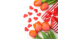Valentine S Day Background With Tulip Flowers And Gift Box On White Royalty Free Stock Photo - 65517895