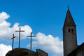Crosses And Church Silhouette Against Sky Stock Image - 65545341