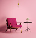 Contemporary Pink Phux Armchair Stock Image - 65549671