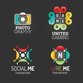 Modern Logo Set. Technology Communication Business Company Media Symbol Web Template. Logo Vector Elements Pack. Brand Icon Design Royalty Free Stock Photography - 65555647