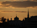 Silhouette Of Church And Mosque Stock Photo - 65561080