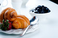 Breakfast With Eggs, Fresh Croissants, Royalty Free Stock Photos - 65562088