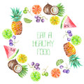 A Fruit Circle Frame Of The Watercolor Fruits: Grapes, Pineapple, Coconut, Lemon, Lime, Citrus And Other Royalty Free Stock Photography - 65565027
