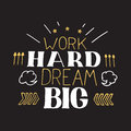 Concept Hand Lettering Motivational Quote. Work Hard Dream Big.  Vector Motivation Poster Design Stock Images - 65565744