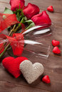 Red Roses, Hearts And Champagne Glasses Royalty Free Stock Photo - 65566555