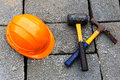 Construction Hat And Hammers Stock Photos - 65568263