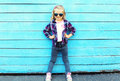 Fashion Kid In City, Stylish Child Wearing A Sunglasses Stock Photography - 65576022