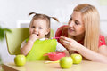 Happy Mother Feeding Baby Royalty Free Stock Image - 65594936