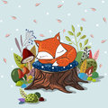 Vector Illustration With  Slipping Baby Fox. Stock Photos - 65598133