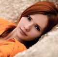 The Portrait Of Very Beautiful Red-haired, Cute, Nice, Attractive Girl. Royalty Free Stock Photos - 65599568