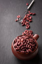Red Kidney Bean In A Red Ceramic Bowl Royalty Free Stock Photo - 65599655