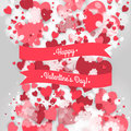 Happy St. Valentine S Day! Abstract Background With Ribbon And Flying Snowflakes And Hearts To The Day Of St. Valentine. Stock Photography - 65600642