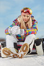 Young Woman Looking Away While Holding Snowboard In Snow Stock Images - 65603774