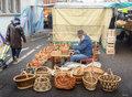 Man Making Wicker Baskets Royalty Free Stock Photography - 65604657