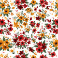 Seamless Pattern With Red And Yellow Flowers Stock Photography - 65606562