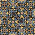 Fine Oriental Colorful Carpet Or Ceramic Ornament In Orange And Blue Colors With White Curves On Black Background Royalty Free Stock Photo - 65608645