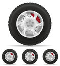 Set Icons Car Wheel Tire From The Disk Vector Illustration Stock Image - 65612831