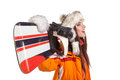 Young Woman Standing With Snowboard Isolated On White Stock Image - 65628411