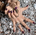 Purple Pattern Polish Nails And Silver Stacking Rings And Bracel Royalty Free Stock Images - 65632189