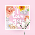 I Love You Inscription. Vector Greeting Card, Invitation Or Poster. Design With Flowers, Roses, And Text. Useable For Stock Photos - 65633533
