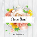 I Love You Inscription. Vector Greeting Card, Invitation Or Poster. Design With Flowers, Roses, And Text. Useable For Royalty Free Stock Images - 65633559