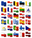 Flat Design European Union Waving Flags Royalty Free Stock Photos - 65638638